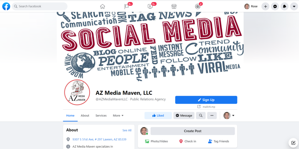 AZ Media Maven's Facebook page is shown as example of Facebook for business.