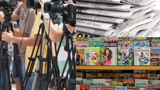Photo of newspapers, TV cameras, and magazines to illustrate earned media.